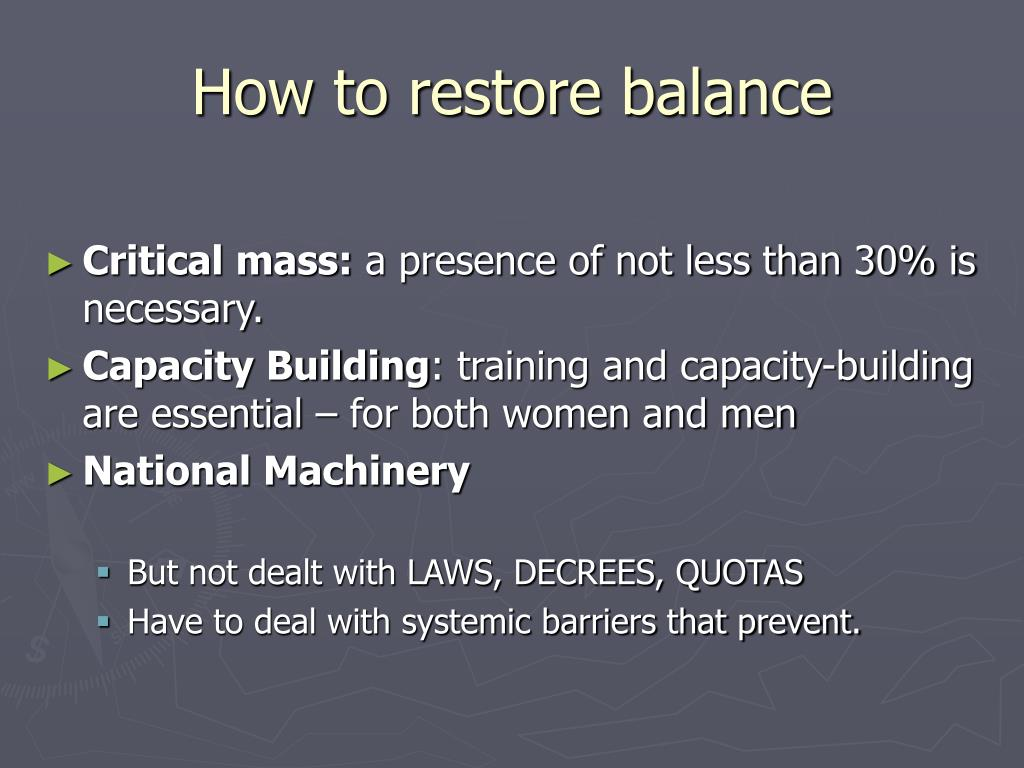 How to restore balance