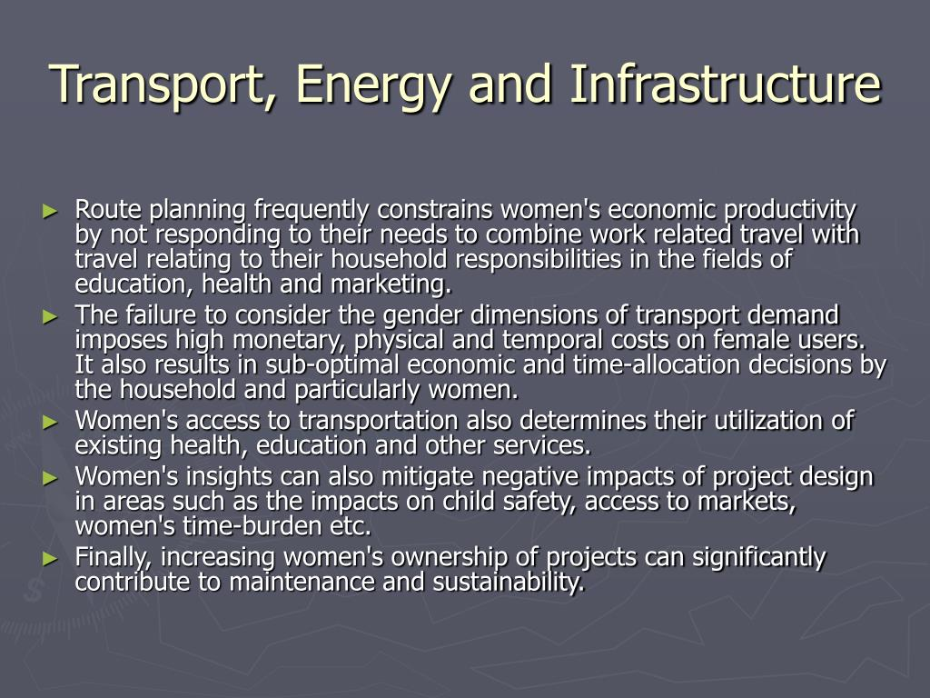 Transport, Energy and Infrastructure