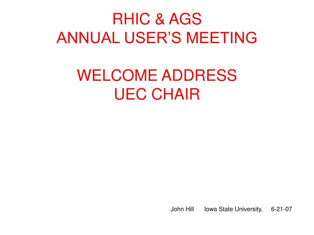 RHIC & AGS