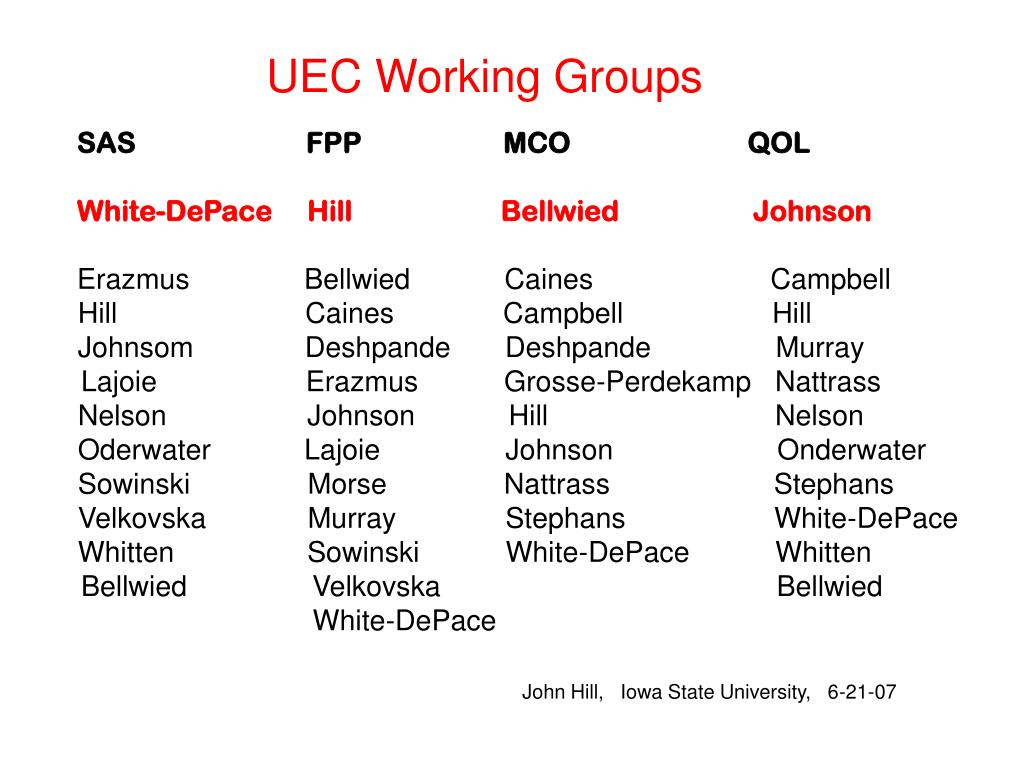 UEC Working Groups