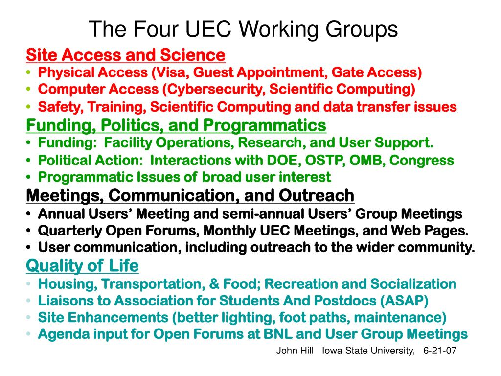 The Four UEC Working Groups