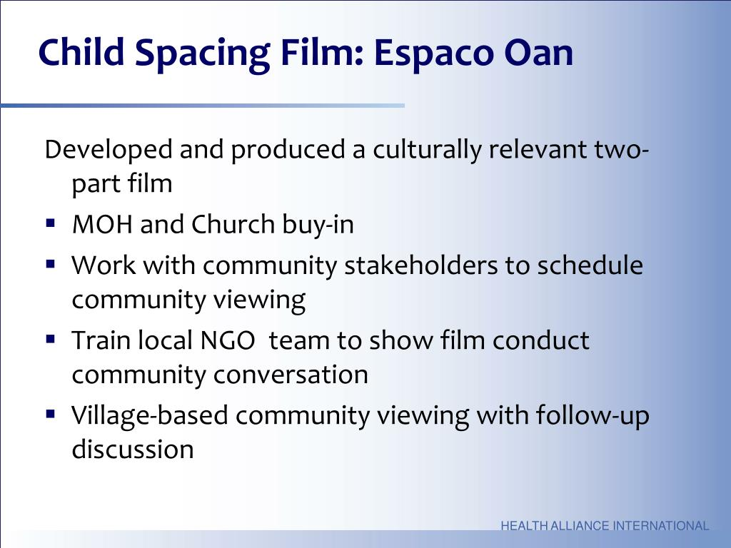 Child Spacing Film: Espaco Oan