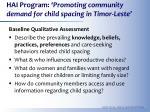hai program promoting community demand for child spacing in timor leste