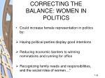 correcting the balance women in politics