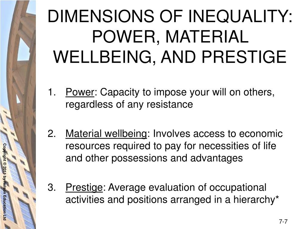 DIMENSIONS OF INEQUALITY: POWER, MATERIAL WELLBEING, AND PRESTIGE