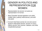 gender in politics and representation for women