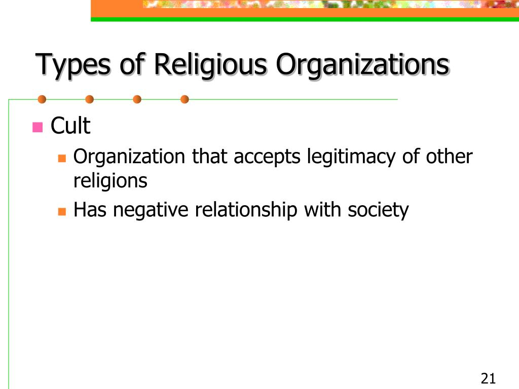 Types of Religious Organizations