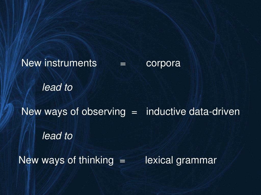 New instruments=corpora