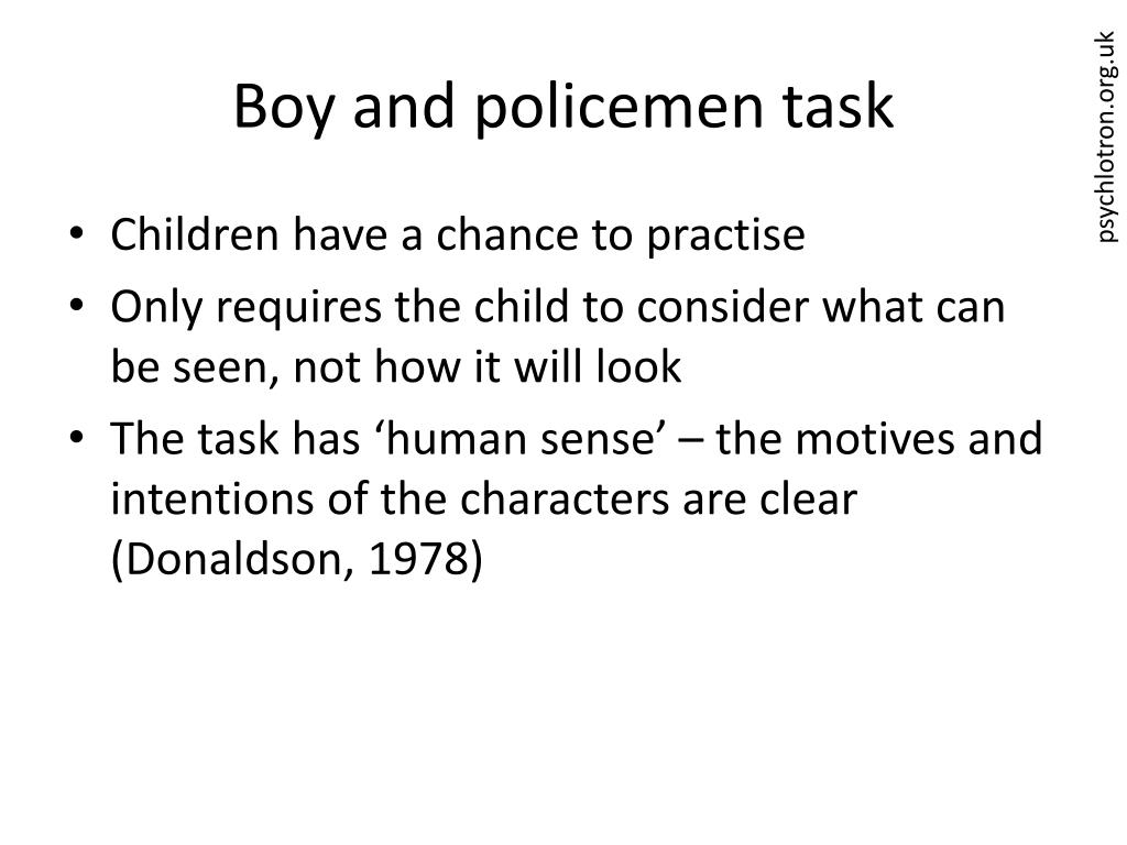 Boy and policemen task