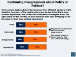 continuing disagreement about policy or politics