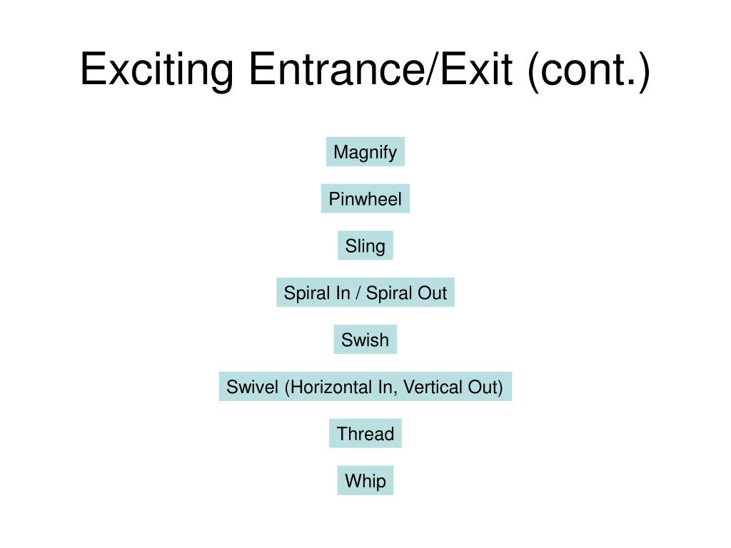 Exciting Entrance/Exit (cont.)