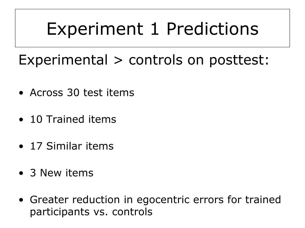 Experiment 1 Predictions