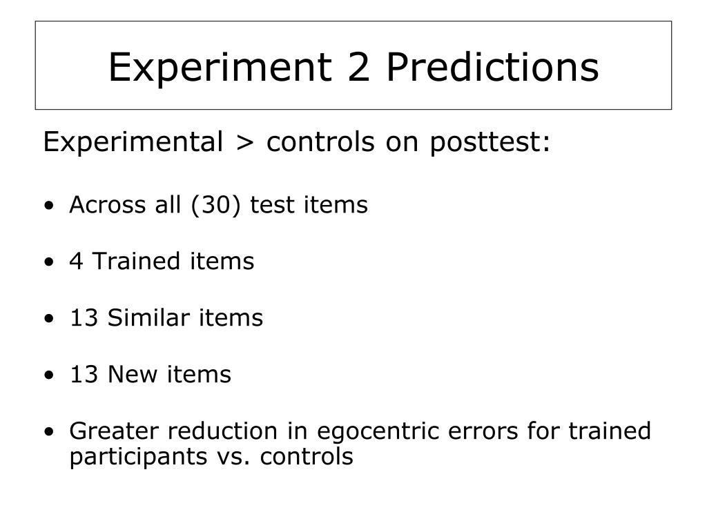 Experiment 2 Predictions