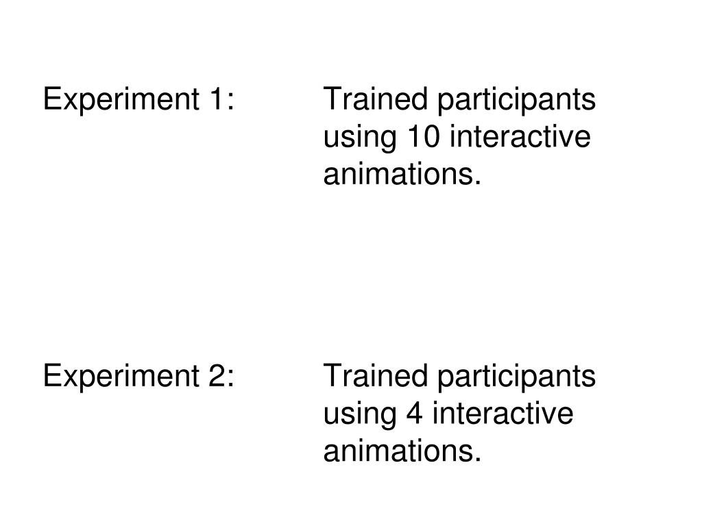 Experiment 1: Trained participants using 10 interactive animations.