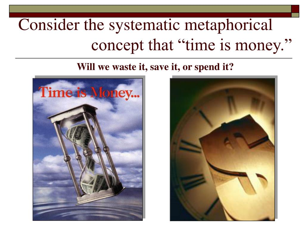 """Consider the systematic metaphorical           concept that """"time is money."""""""