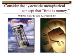 consider the systematic metaphorical concept that time is money