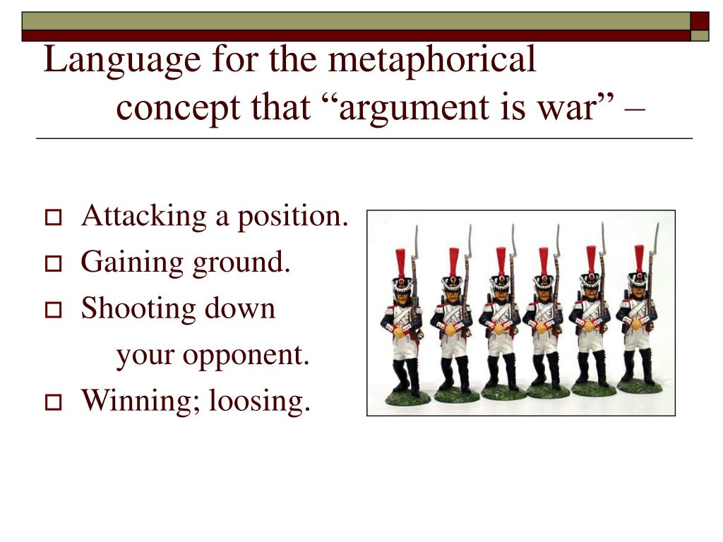 """Language for the metaphorical concept that """"argument is war"""" –"""