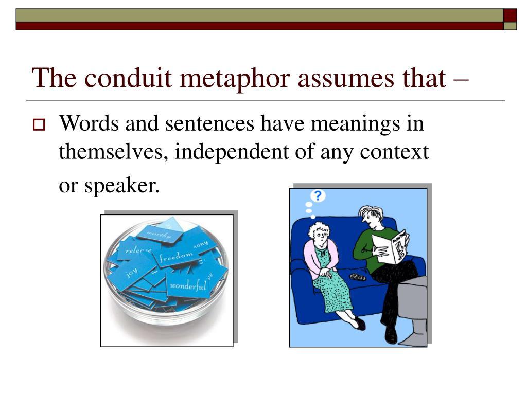 The conduit metaphor assumes that –