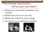 which human characteristics will you give your object