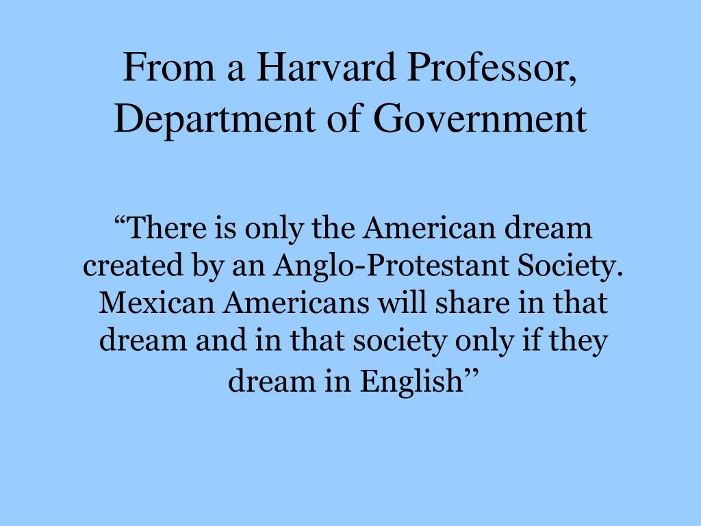 From a Harvard Professor,