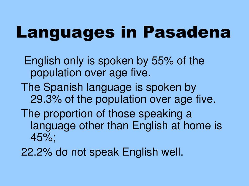 Languages in Pasadena