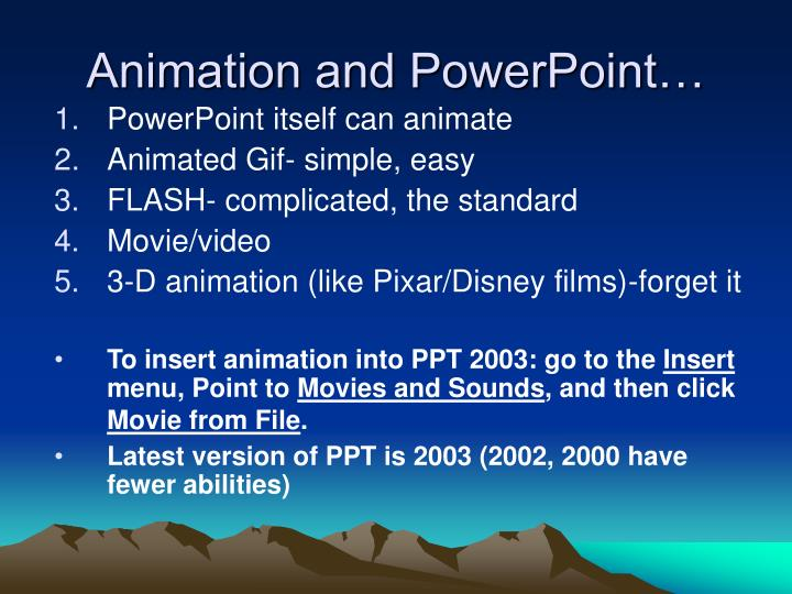 Animation and powerpoint
