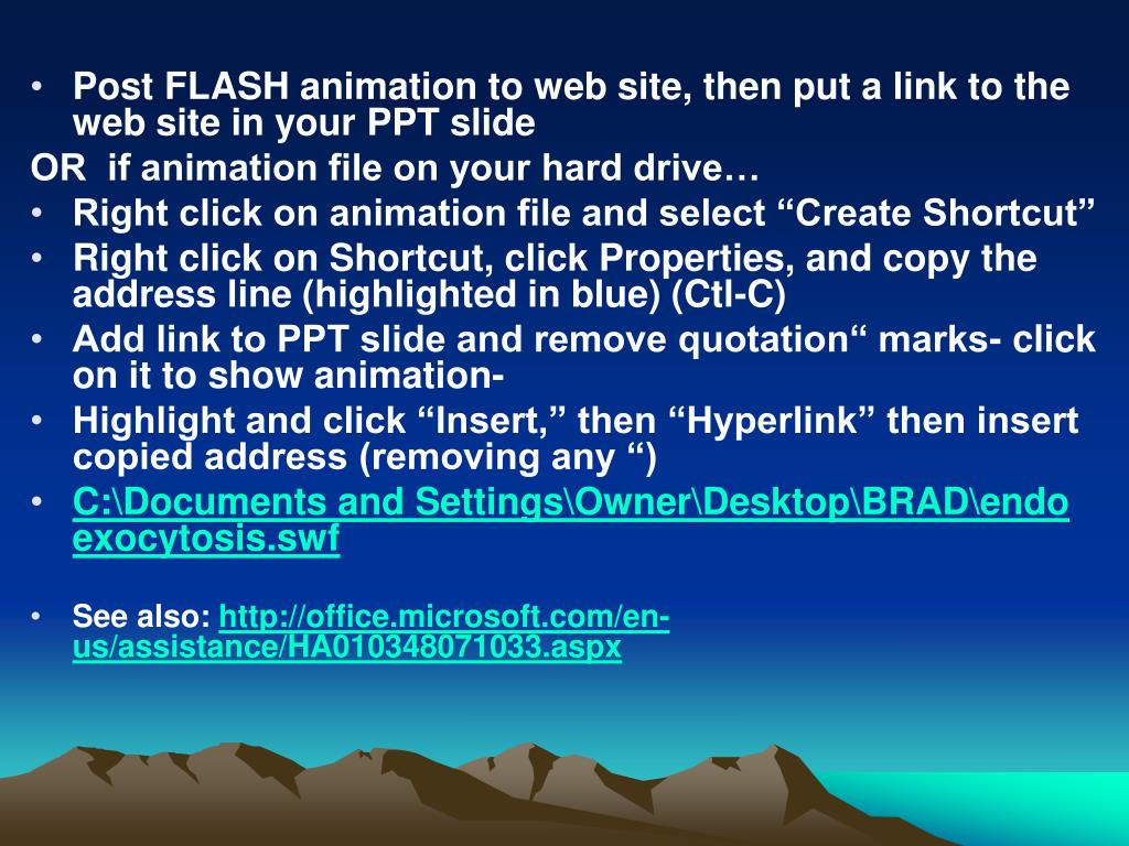 Post FLASH animation to web site, then put a link to the web site in your PPT slide