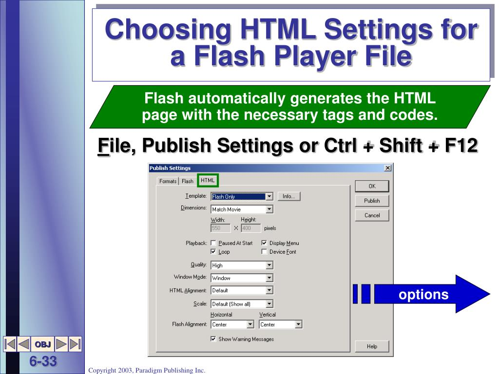 Choosing HTML Settings for a Flash Player File