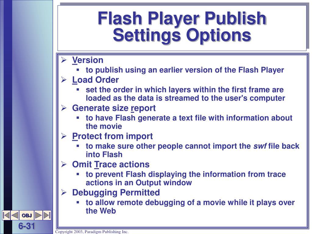 Flash Player Publish Settings Options