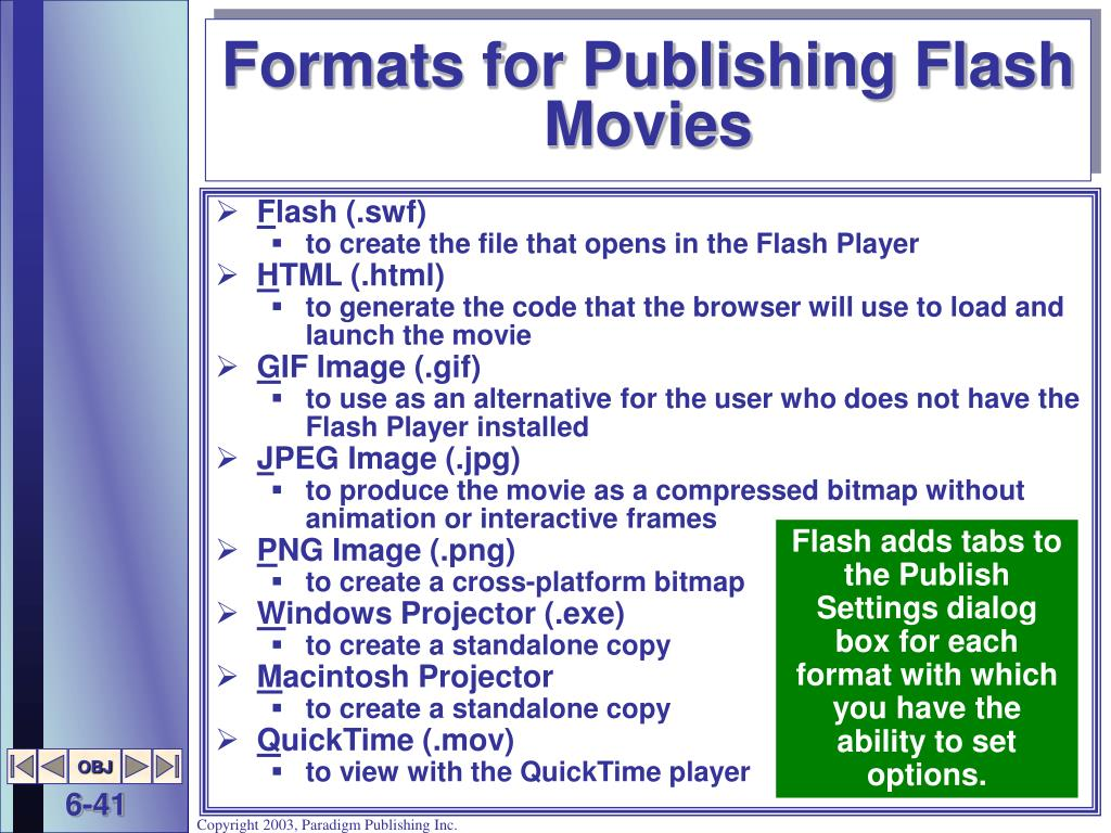 Formats for Publishing Flash Movies