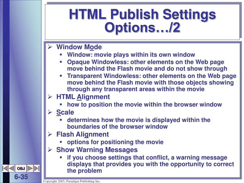 HTML Publish Settings Options…/2