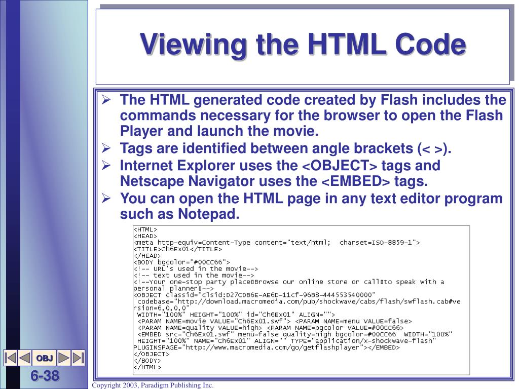 Viewing the HTML Code