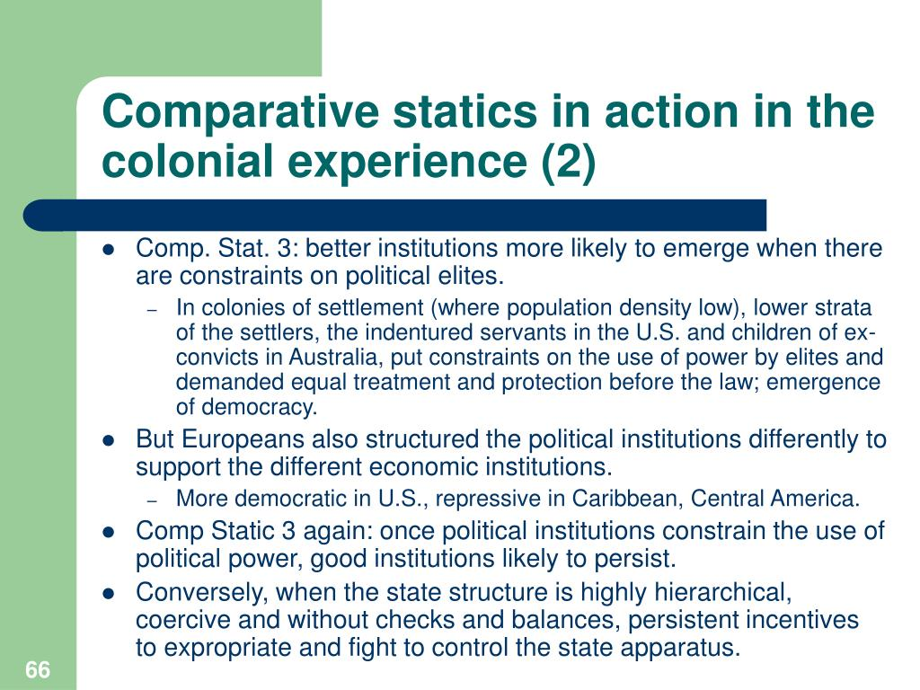 Comparative statics in action in the colonial experience (2)
