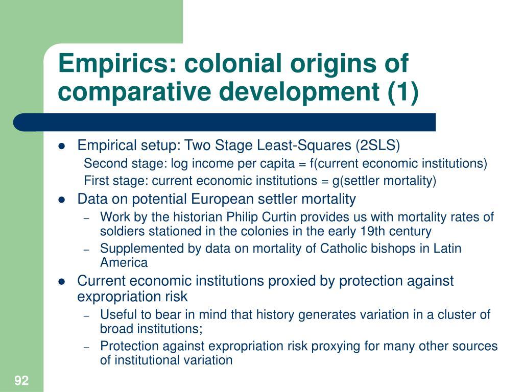 Empirics: colonial origins of comparative development (1)