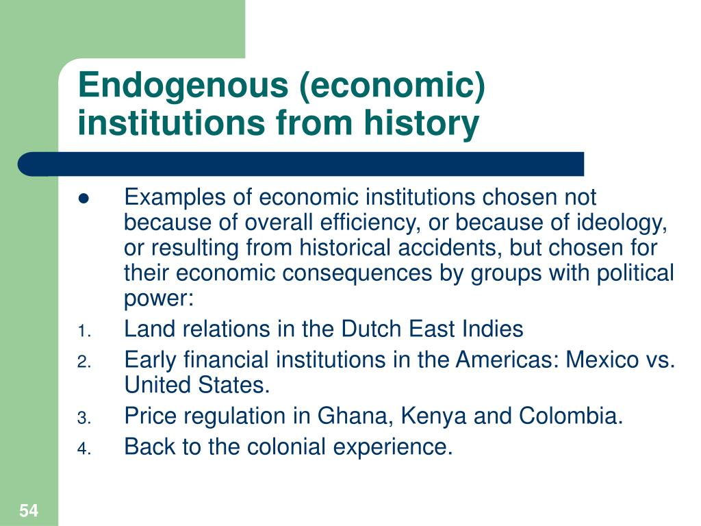 Endogenous (economic) institutions from history