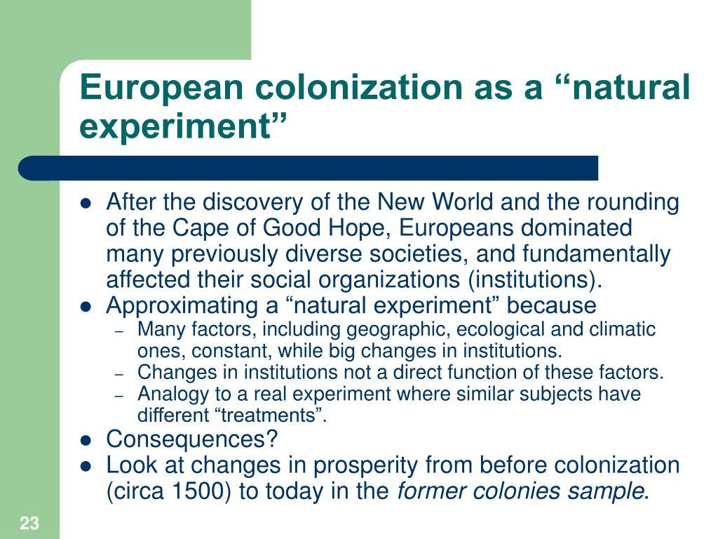 "European colonization as a ""natural experiment"""
