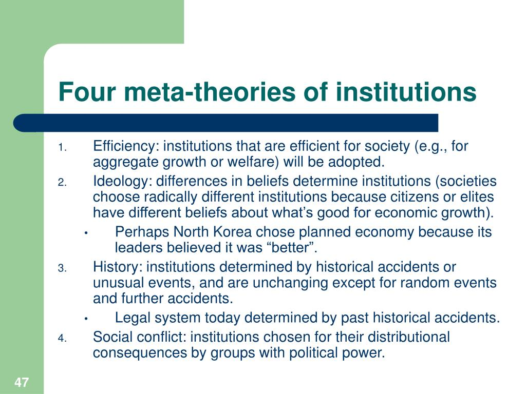 Four meta-theories of institutions