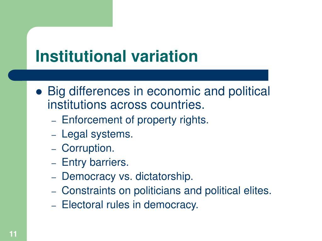 Institutional variation