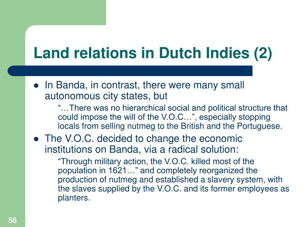 Land relations in Dutch Indies (2)