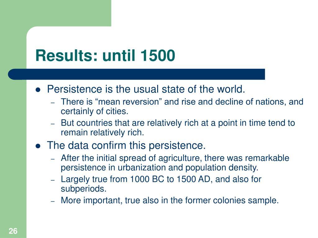 Results: until 1500