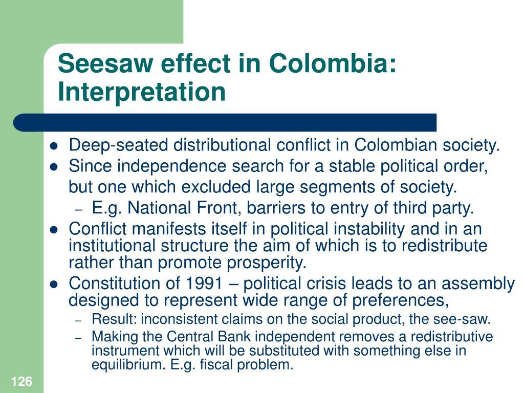 Seesaw effect in Colombia: Interpretation