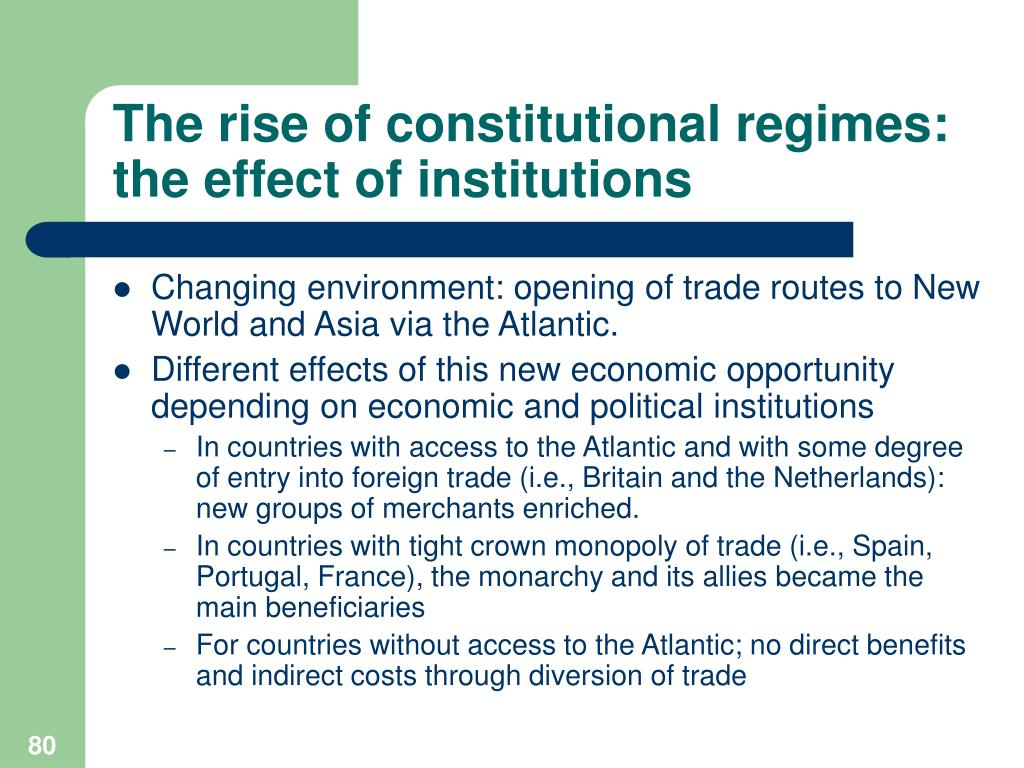 The rise of constitutional regimes: the effect of institutions