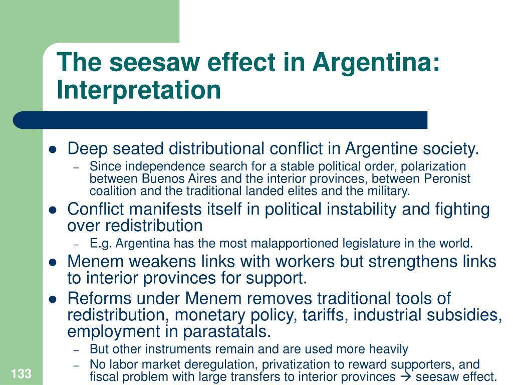 The seesaw effect in Argentina: Interpretation