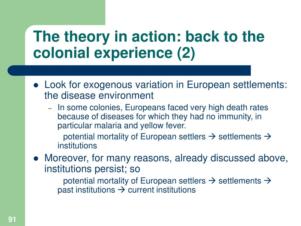 The theory in action: back to the colonial experience (2)