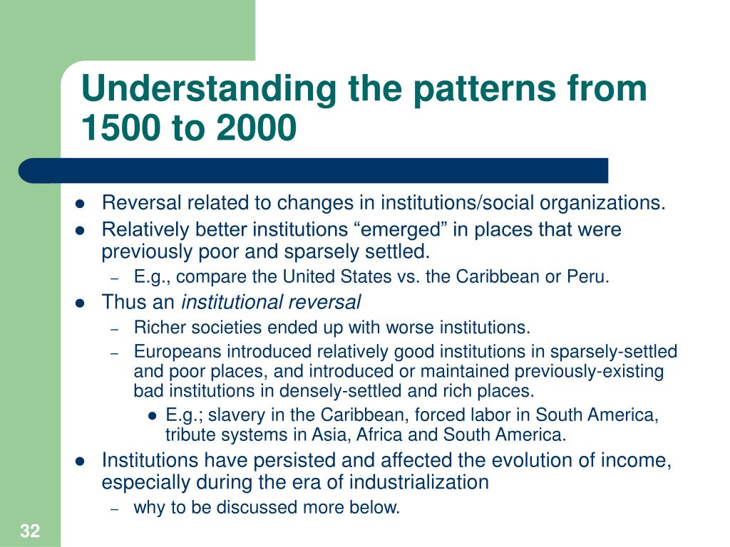 Understanding the patterns from 1500 to 2000