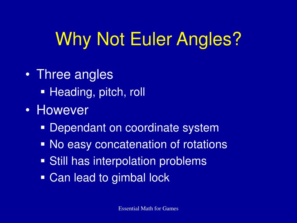 Why Not Euler Angles?