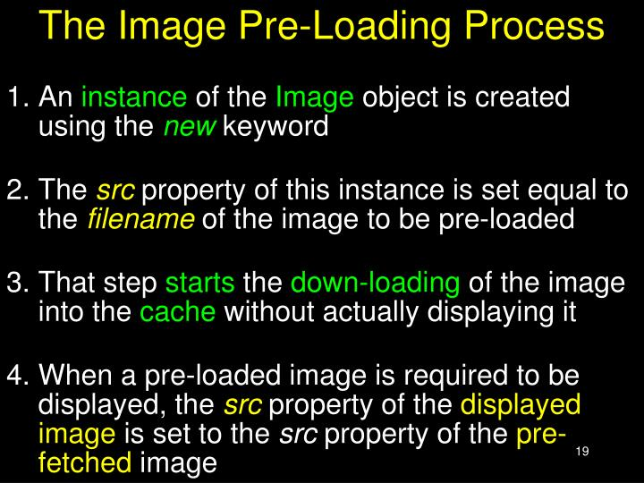 The Image Pre-Loading Process