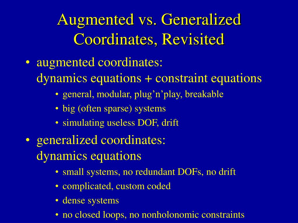 Augmented vs. Generalized Coordinates, Revisited