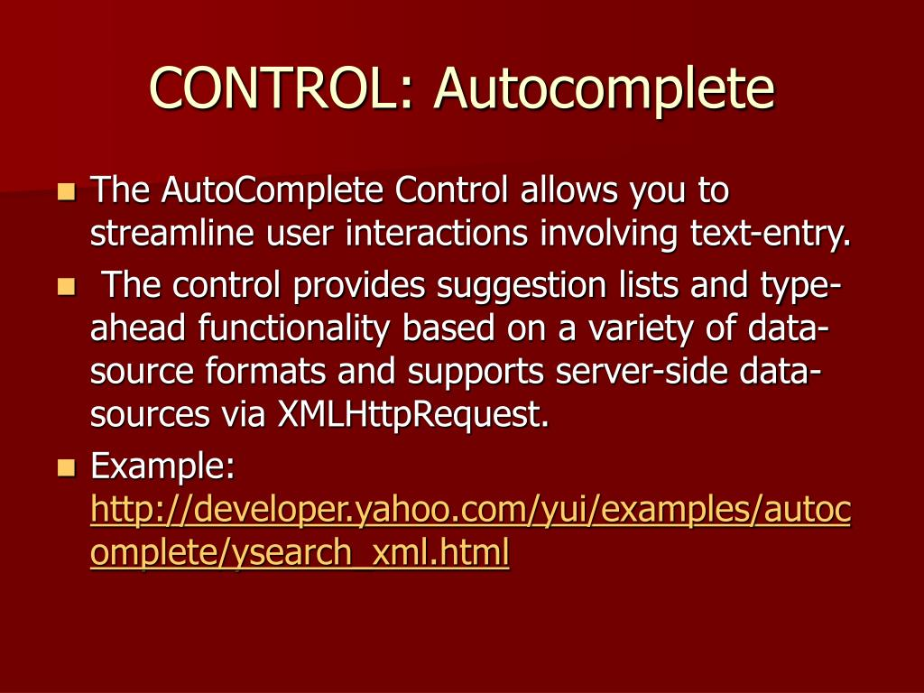 CONTROL: Autocomplete