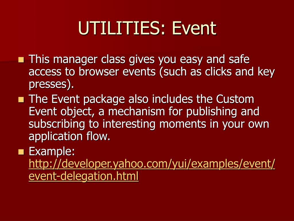 UTILITIES: Event
